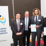 Hamish receiving his award in 2016 from Master Builders Association of Victoria's CEO Radley de Silva and 2016 guest speaker Kevin Sheedy