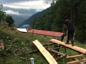 Two workers using a pitsaw to mill the timber for school. The school is in the background.
